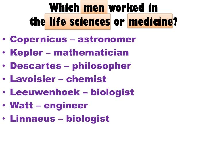 Which men worked in
