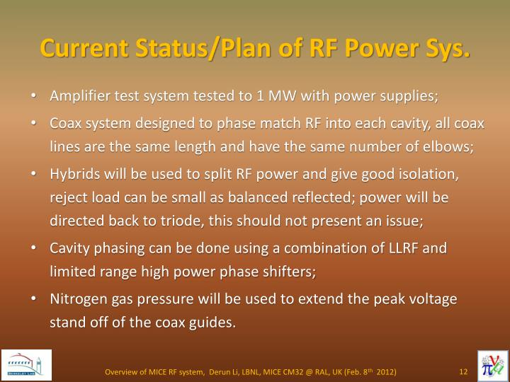 Current Status/Plan of RF Power Sys.