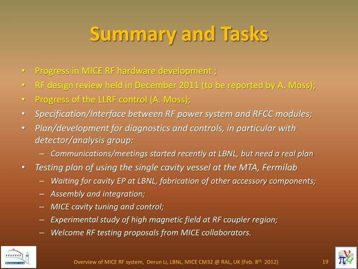 Summary and Tasks
