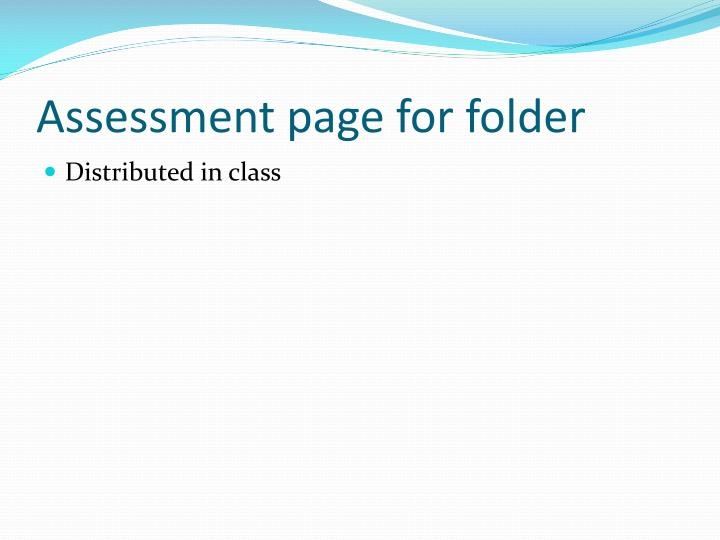Assessment page for folder