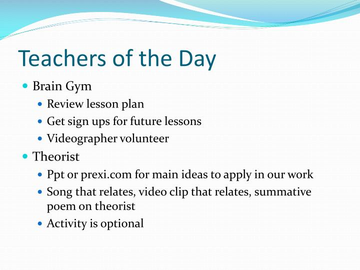 Teachers of the Day
