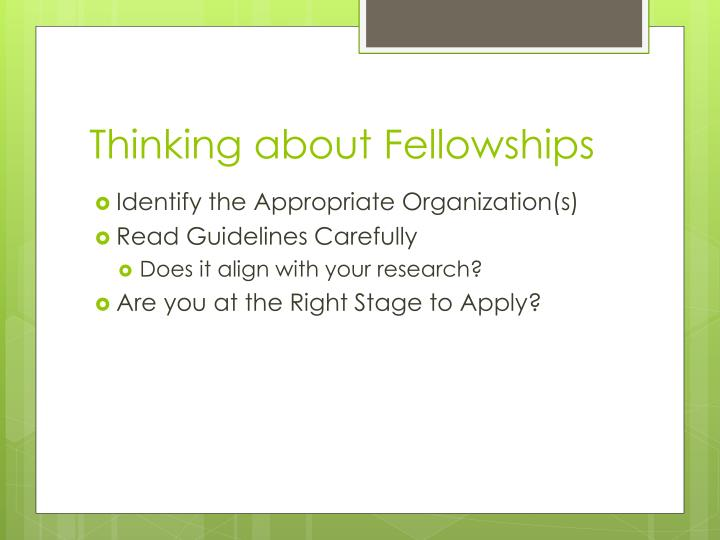 Thinking about Fellowships