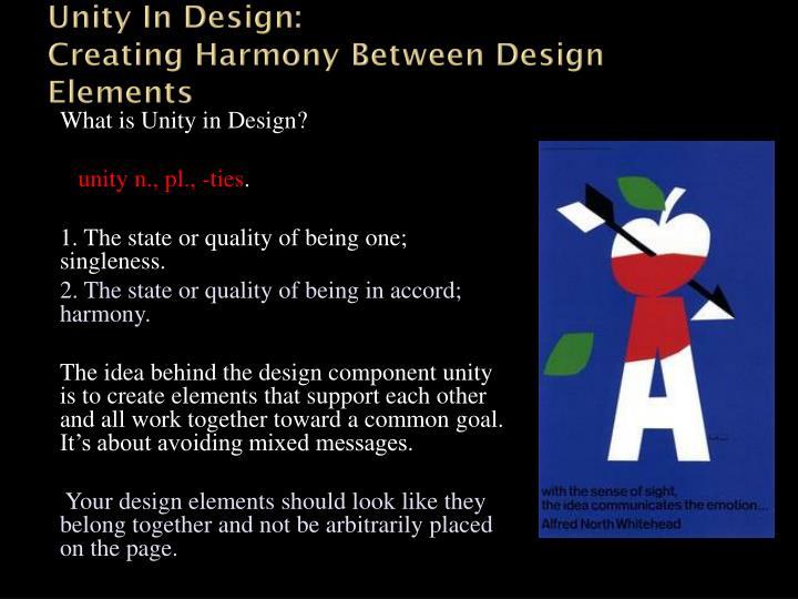 Unity in design creating harmony between design elements
