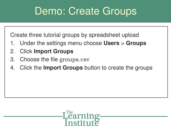 Demo: Create Groups