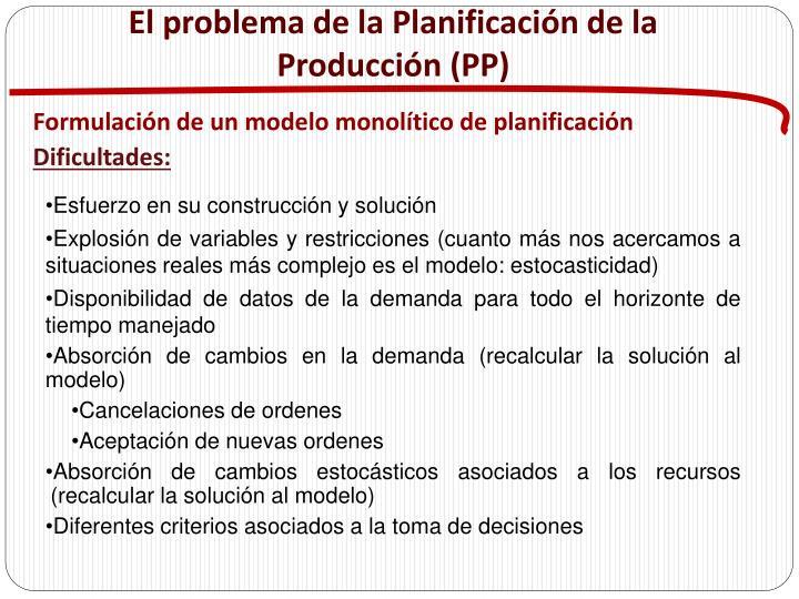 El problema de la Planificación de la Producción (PP)