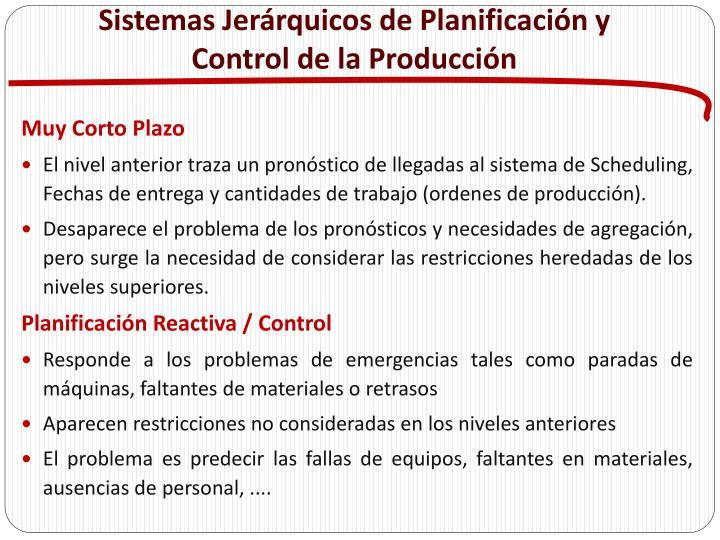 Sistemas Jerárquicos de Planificación y Control de la Producción