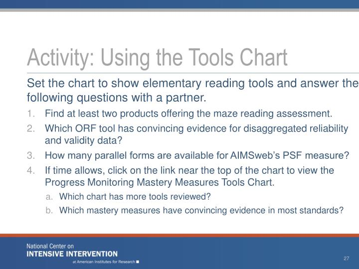 Activity: Using the Tools Chart