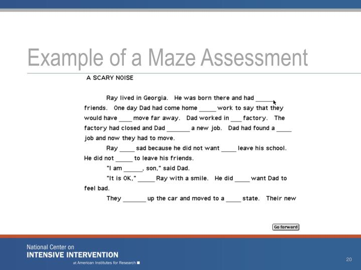 Example of a Maze Assessment