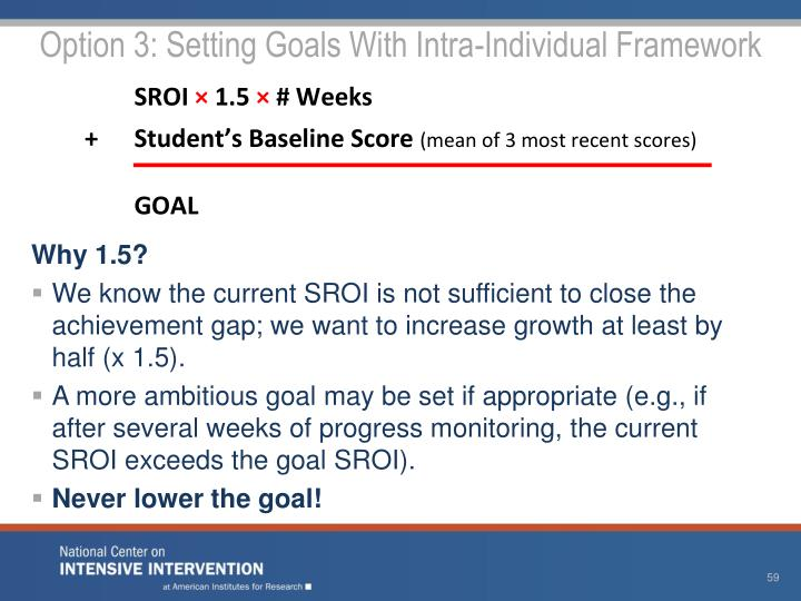 Option 3: Setting Goals With Intra-Individual Framework