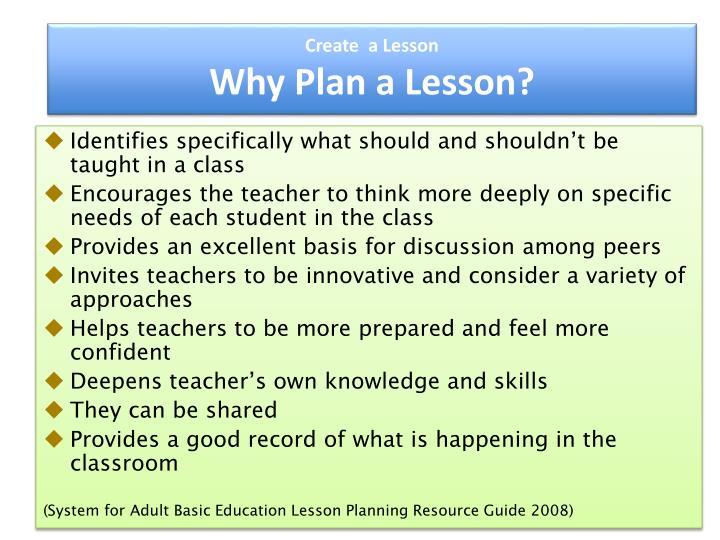 Create  a Lesson