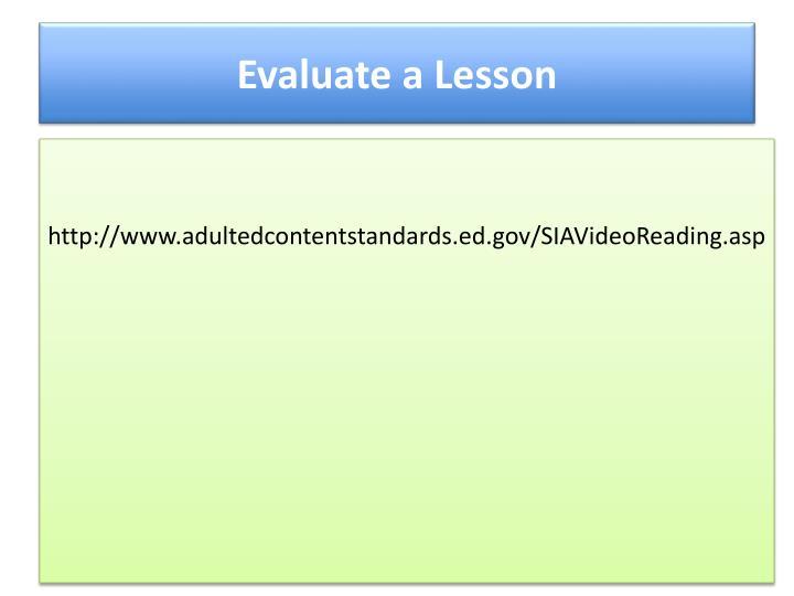 Evaluate a Lesson