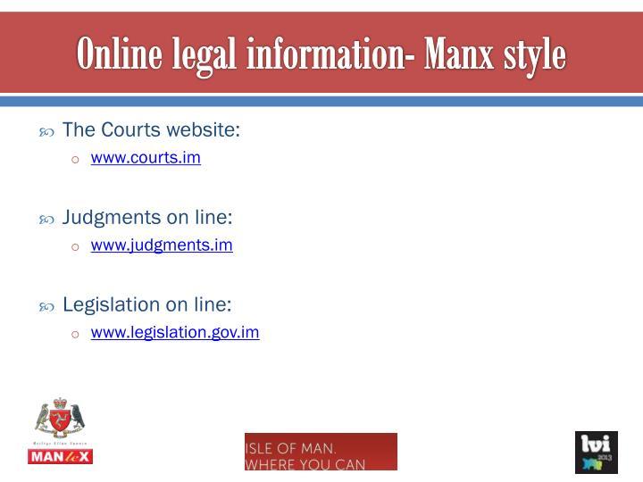 Online legal information- Manx style