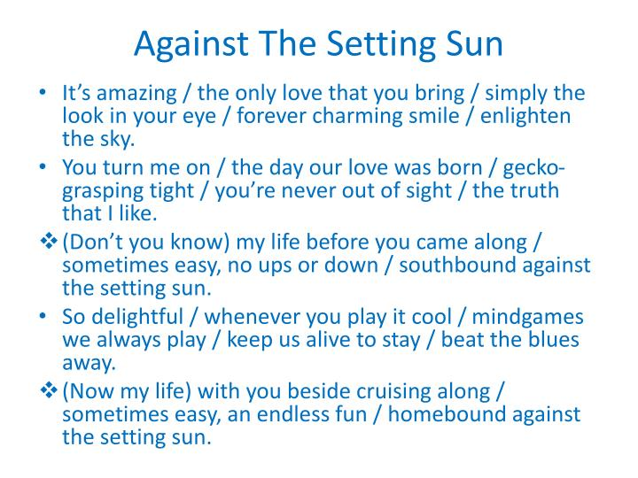 Against The Setting Sun