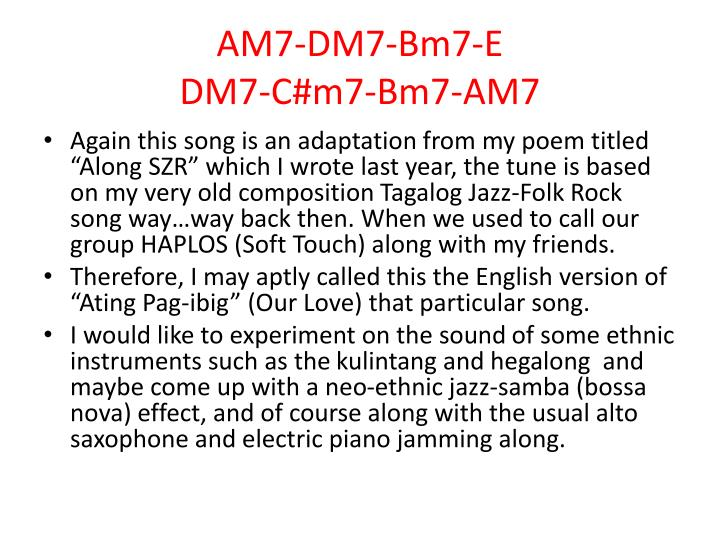 AM7-DM7-Bm7-E