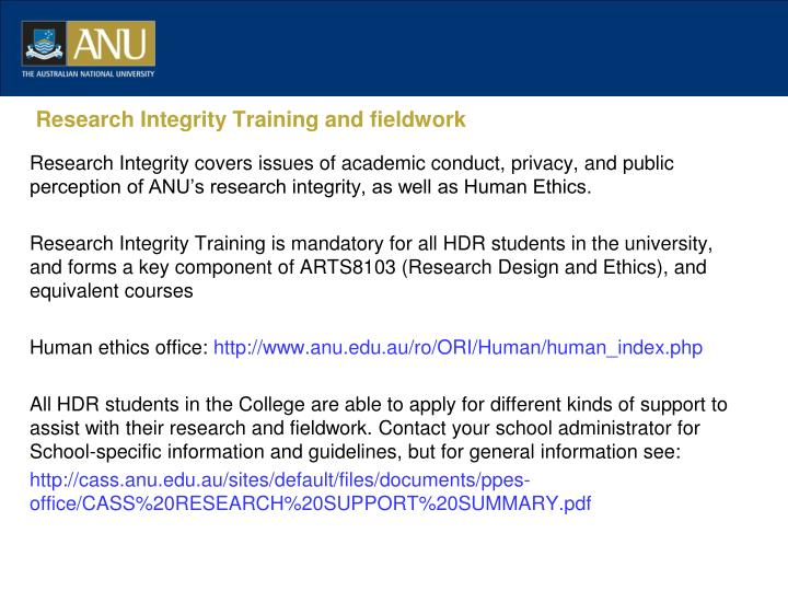 Research Integrity Training and fieldwork