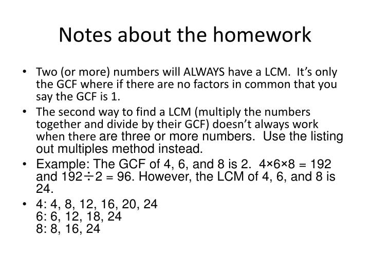 notes about the homework n.