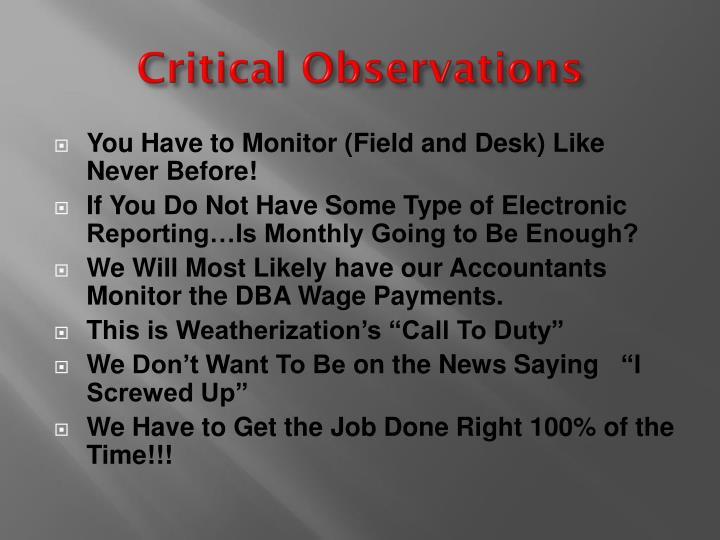 Critical Observations