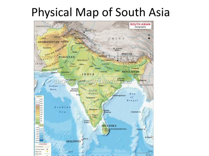 PPT - Physical Map of South Asia PowerPoint Presentation - ID:2646091