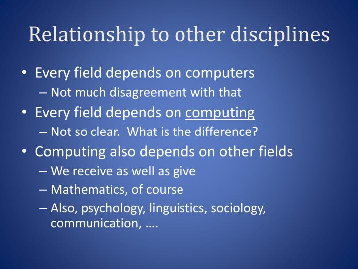 Relationship to other disciplines