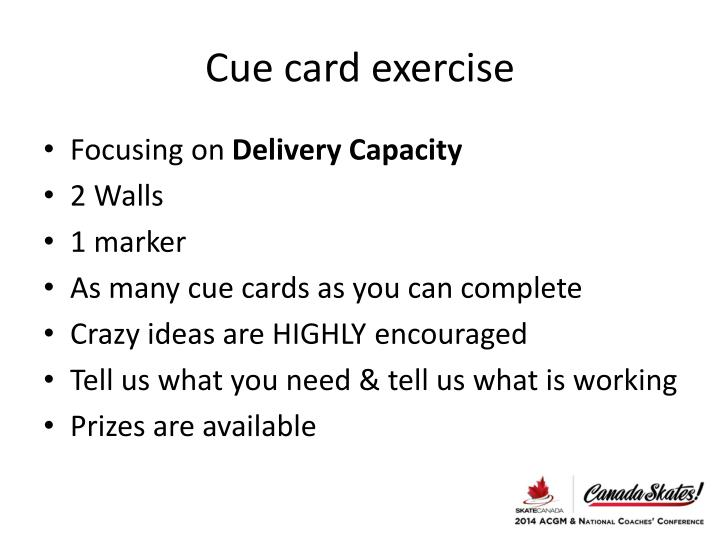 Cue card exercise
