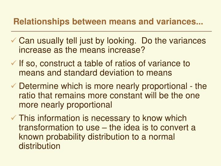 Relationships between means and variances...