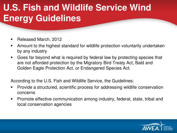 U.S. Fish and Wildlife Service Wind Energy Guidelines