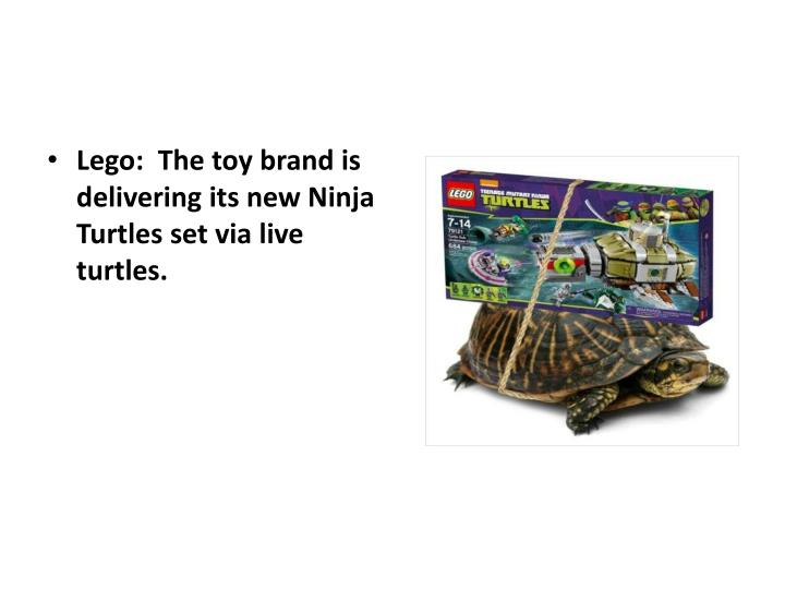 Lego:  The toy brand is delivering its new Ninja Turtles set via live turtles.