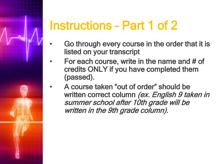 Instructions part 1 of 2
