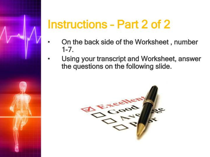 Instructions – Part 2 of 2