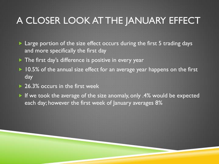 A Closer Look at the January Effect