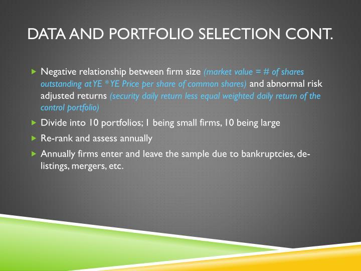 Data and Portfolio