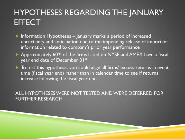 Hypotheses Regarding the January Effect