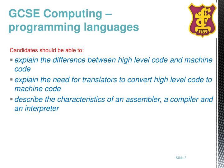 Gcse computing programming languages