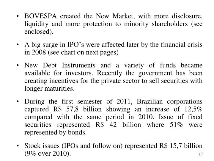 BOVESPA created the New Market, with more disclosure, liquidity and more protection to minority shareholders (see enclosed).