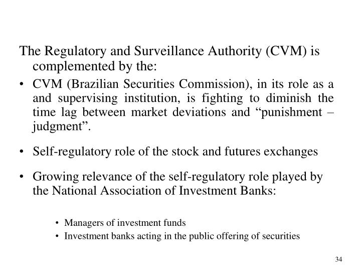 The Regulatory and Surveillance Authority (CVM) is complemented by the: