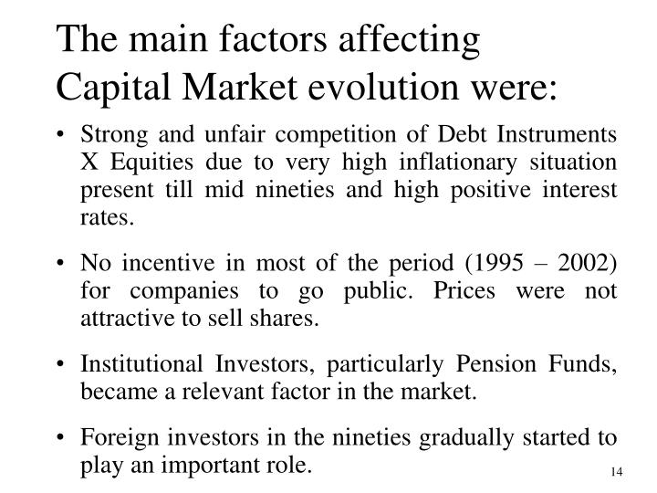The main factors affecting Capital Market evolution were: