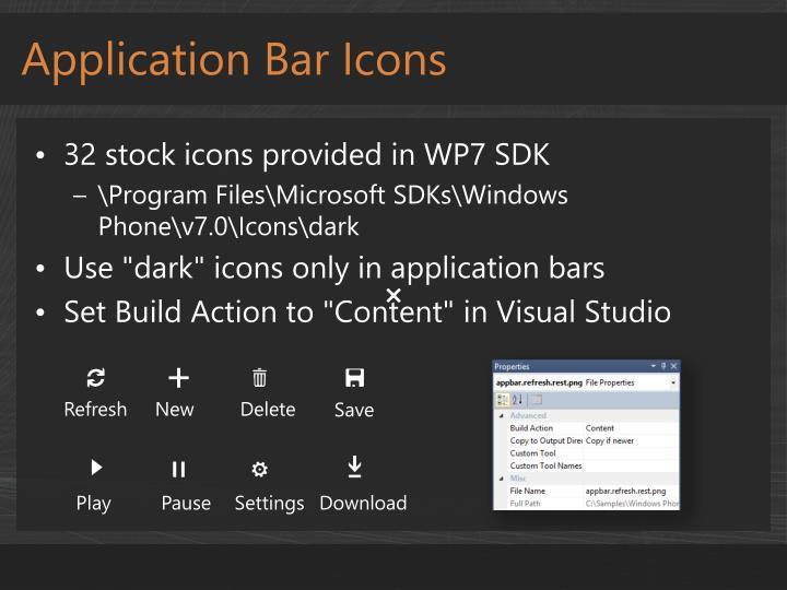 Application Bar Icons