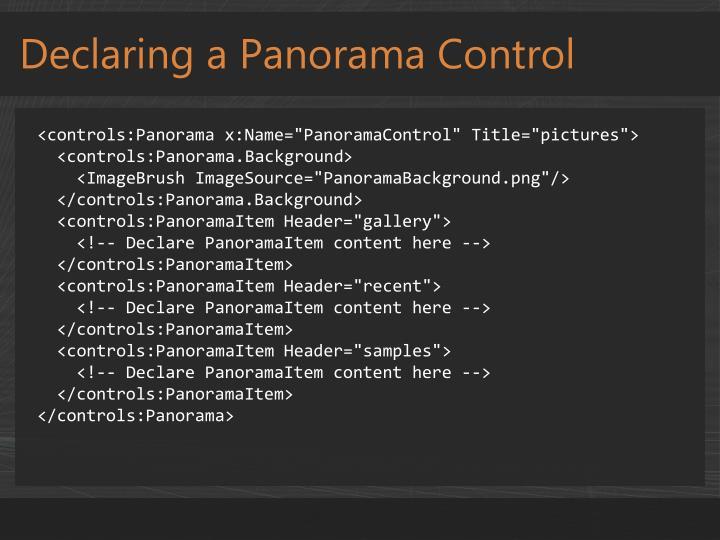 Declaring a Panorama Control