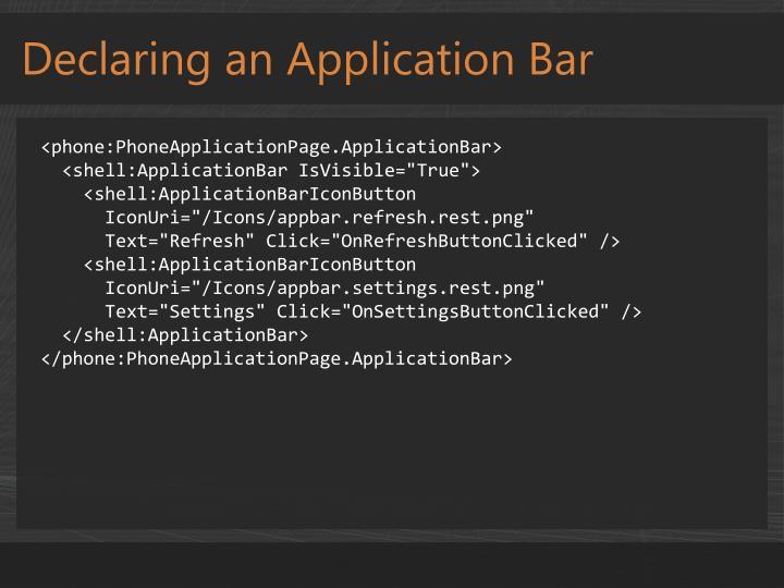 Declaring an Application Bar