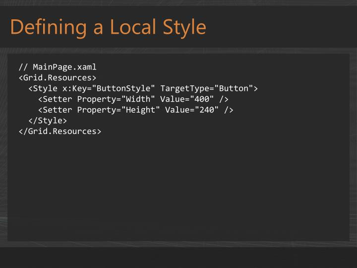 Defining a Local Style