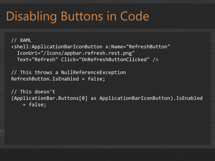 Disabling Buttons in Code