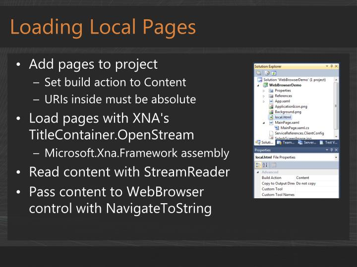 Loading Local Pages