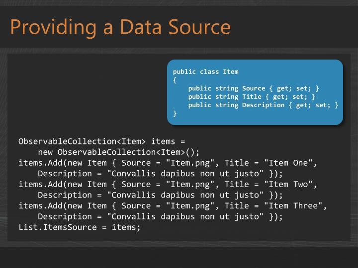 Providing a Data Source