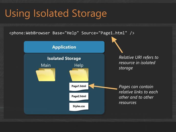Using Isolated Storage