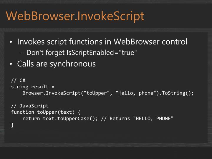 WebBrowser.InvokeScript