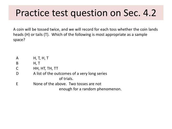 Practice test question on Sec. 4.2