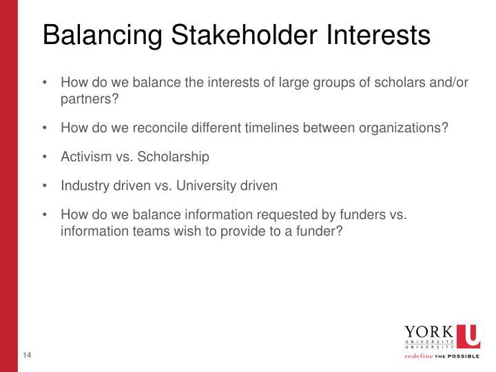Balancing Stakeholder