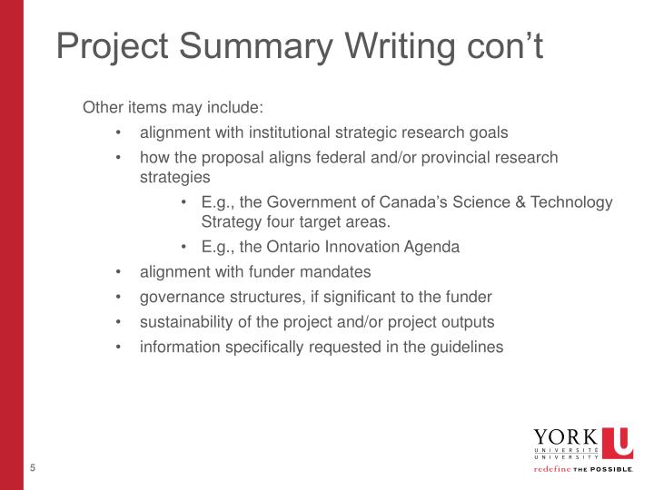Project Summary Writing con't