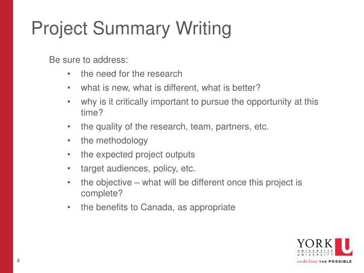 Project Summary Writing