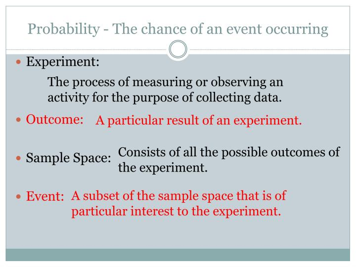 Probability the chance of an event occurring